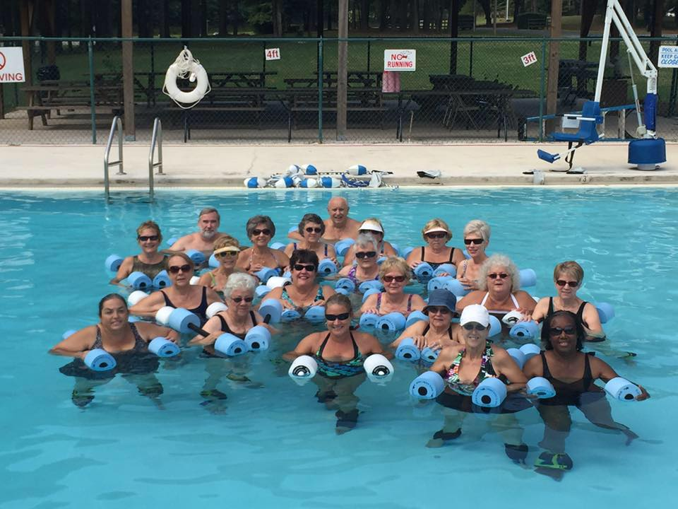 The Troy Montgomery Senior Center participating in water aerobics at the Town of Troy Pool